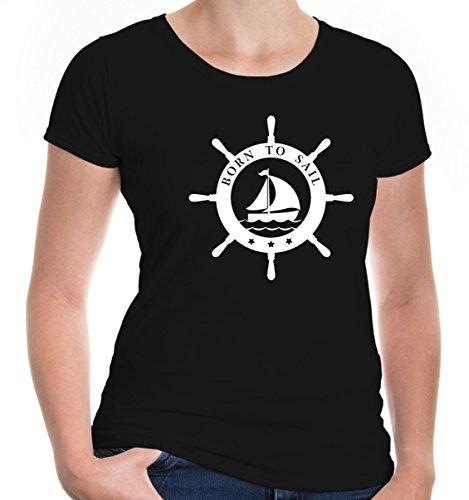 buXsbaum Damen Girlie T-Shirt Born to sail | Segeln Segler Wassersport Segelboot Segelschiff | M, Schwarz (Tour Schwimmweste)