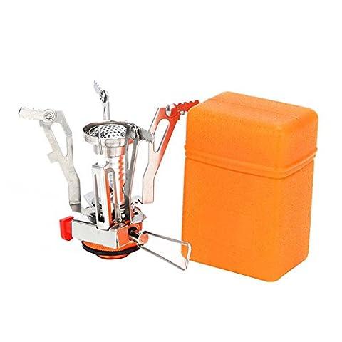 missofsweet Ultralight Mini Portable extérieur randonnée Camping Poêle en acier inoxydable avec allumage piezo (Orange)