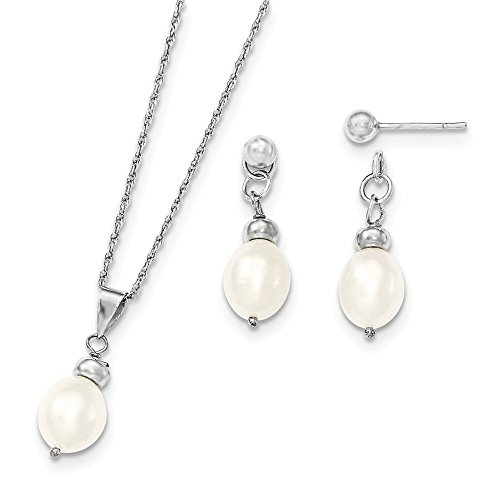 7- 8 mm Sterling Silber Pearl Fwc Pend und Box-Set Ohrringe JewelryWeb (Pend-set)