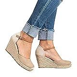 Shelers Damen Keile Schuhe Espadrilles Absätze Knöchel Gurt Fallen Sommer Sandalen (38 EU, X-Beige)