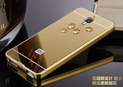 MVE Branded Luxury Metal Bumper + Acrylic Mirror Back Cover Case For XIAOMI MI4 - Gold Plated