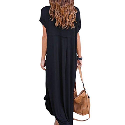 ... Damen Kurzarm MaxiKleider Casual Lange Abendkleid Einfarbig  Sommerkleider Blusenkleider Freizeitkleid Schlitz Mit Pockets Schwarz