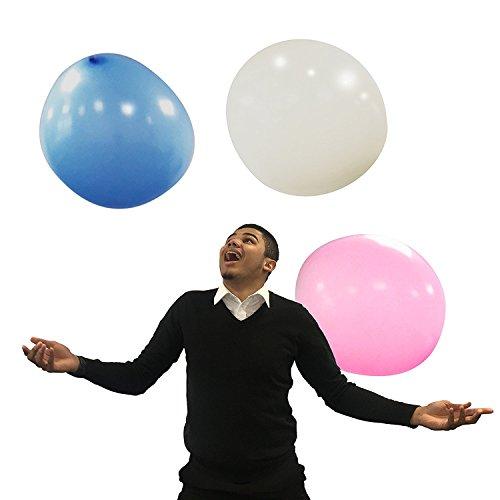 TRIXES Paquete de 3 Globos de Látex Gigantes 36 pulgadas/3 pies de Diámetro Azul/Blanco/Rosa Cumpleaños Fiestas Bodas