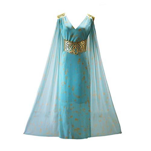 qingning Thrones Daenerys Targaryen Mother of Dragon Kostüm Sexy Kleid Damen Halloween Cosplay Umhang Clock Robe ()