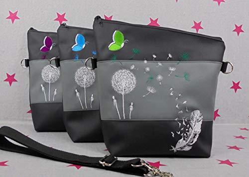 pinkeSterne ☆ Umhängetasche Handtasche Schultertasche Kunstleder Bestickt Stickerei Handmade FoldOver Grau Schwarz Farbwahl Türkis Lila Grün