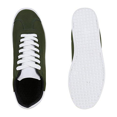 Sneakers Low Damen Herren Profilsohle Freizeit Turnschuhe Trendschuhe Dunkelgrün