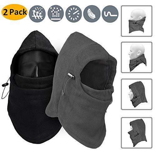 Masque de ski de cagoule, 2 Pack Coupe-Vent Polaire Cap Chaud Chapeau de Snowboard Chapeau Hiver Face Cover pour la Moto de Snowboard Extérieur par AumoToo, Noir+Gris