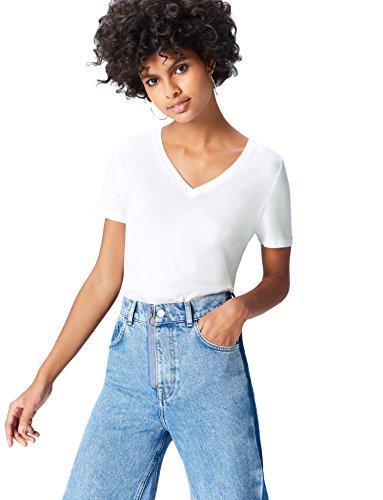 FIND 18105 t shirt damen, Weiß, 36 (Herstellergröße: Small)