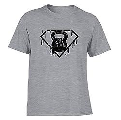 DesignDivil Kettlebell Superhero T-Shirts Distressed Print Gym Training Workout Fitness SP (Medium, c. Sporty Grey)