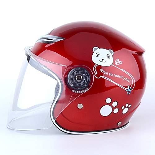 RONSHIN Casco da Moto per Bimbi Antivento Caldo da Ragazza per Bambini avanzato Invernale Rosso