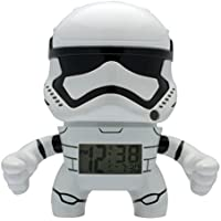 BulbBotz Despertador con luz Infantil 2020015 con figurita de la tropa de Asalto de La Guerra de Las Galaxias | Blanco/Negro | plástico | 19 cm de Altura | Pantalla LCD | Chico Chica | Oficial