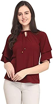 J B Fashion Plain Women Top with 3/4 Sleeves for Fancy top,Stylish top, Casual Wear Top for Women/Girls