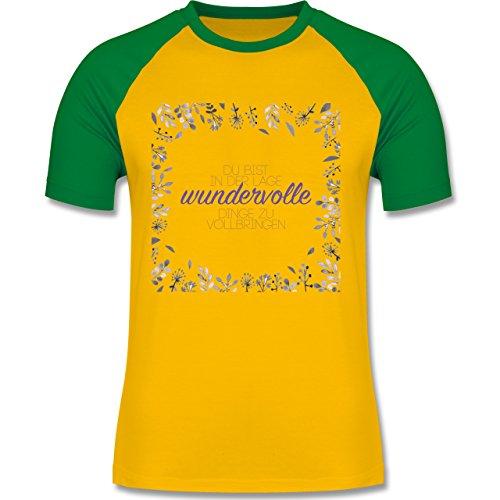 Statement Shirts - Inspirierende Zitate - Du kannst wundervolle Dinge - zweifarbiges Baseballshirt für Männer Gelb/Grün