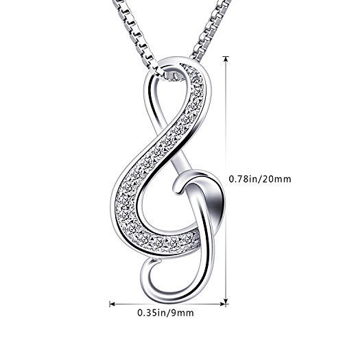 B.Catcher Silver Necklaces Music Note Pendant Necklace S925 Sterling Silver Women Jewellery keTkz