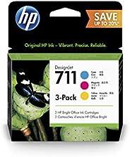 HP 711 P2V32A Cian, Magenta y Amarillo, Paquete de 3 Cartuchos de Tinta Original DesignJet, 28ml, para Impreso