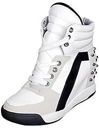 ¡Promoción grande! ¡Venta de liquidación de Covermason! Zapatos ocultos del talón del remache con cordones del otoño de las mujeres Zapatos casuales del recorrido(36 EU, Blanco)