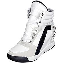 ¡Promoción grande! ¡Venta de liquidación de Covermason! Zapatos ocultos del talón del remache con cordones del otoño de las mujeres Zapatos casuales del recorrido(35 EU, Blanco)