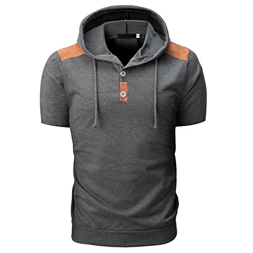 Shirts Herren Männer Sommer Stylisch Slim Fit Sport Ärmel Tasten Kapuzenpullover Tops Bluse (Schwarz, XXXL)