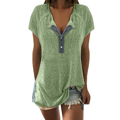 Aiserkly Frauen lösen beiläufige Knopf-Kurzschluss-Hülsen-Blusen-T-Shirt Oberseiten des Patchworks Grün 3XL