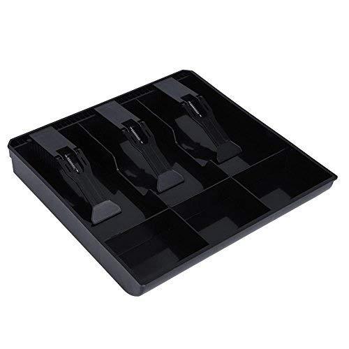 Cajón de soporte de dinero en efectivo Cajón de repuesto calidad de plástico ligera conveniente 3 Facturas 3 monedas Contenedor de monedas, color Negro