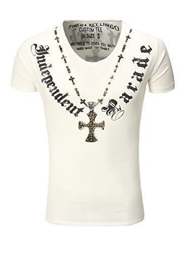 Key Largo T-Shirt T Independent V-Neck Kreuz Nieten Print weiß XL