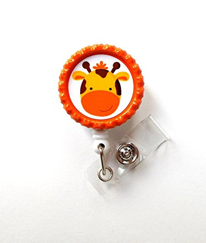 Giraffe orange - Retractable ID Badge Reel - Name Tag Badge - Cute ID Badge Reel - Nurse Badge Clip - Pädiatrische Badge - Lehrer ID Belt Slide Clip Orange