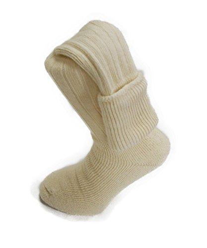 Calcetines altos por la rodilla Alpaca Country, se pueden doblar, 75 % de lana de alpaca, suaves, cómodos, gruesos, para caza, senderismo y escalada Amarillo crema Small 4/7 UK