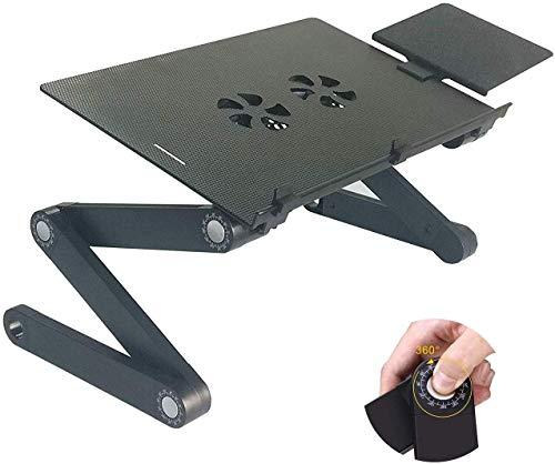OPcFKV Laptop Stand Schreibtisch Tisch, Adjustable Ergonomischer Aluminium TV-Bett Lap Tray Notebook Tablet-Halter mit belüfteter CPU Lüfter und Vergrößerte Mauspad, Schwarz -