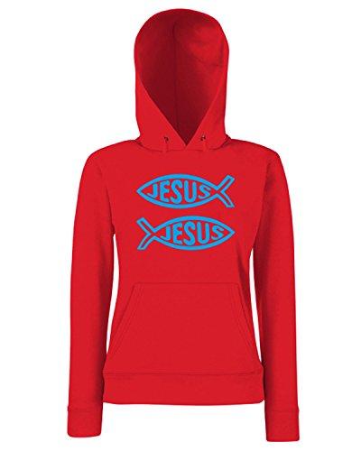 T-Shirtshock - Sweats a capuche Femme FUN0330 082 jesus fish 29898 Rouge