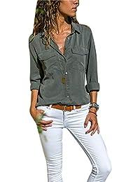 78e23c1beac1 Chemise Femme Chemisier Mousseline de Soie Button Up T-Shirt Solide Tunique  Femme Chic Manches