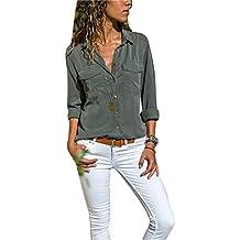Camisas Vaquera Mujer Blusa con Botones Camisetas Manga Larga Sexy Tops  Color Sólido Cuello en V 129ab4dfd42d9