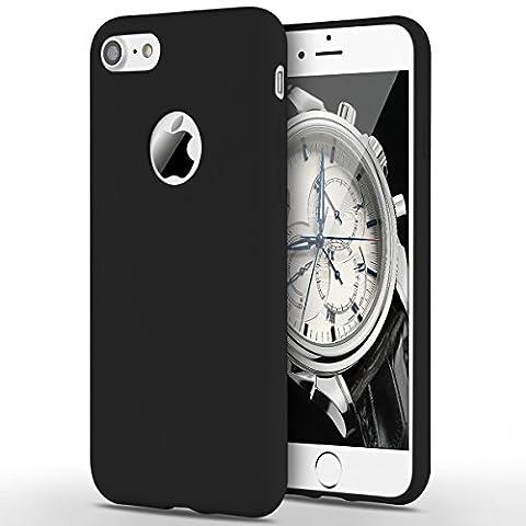 Coque iPhone 7, Yokata Etui iPhone 7 Solide Mat Anti-Fingerprint Case Housse Étui Soft Doux TPU Silicone Flexible Backcover Ultra Mince Coque - Noir