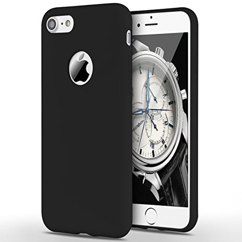 Funda iPhone 7, Yokata Silicona TPU Pluma Ultra Delgado Ligero Elegante Suave Mate Carcasa Trasera Fantasía Caprichoso Kawaii Adorable Diseño Flexible Case Bumper Resistente a los Arañazos Anti Choque Anti-deslizante Soft Protectora Cover - Candy Negro