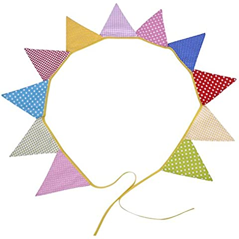 PIXNOR Matrimonio festa compleanno Bunting bandiere con Dot griglia modello 11pcs (colore (Bunting Modello)