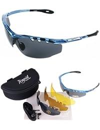 Ace Blau POLARISIERTE SPORT SONNENBRILLE MIT WECHSELGLÄSER (x4 - grau verspiegelt & braun + gelbe gläser) und Zubehör. UV schutz 400. Für Herren und Damen