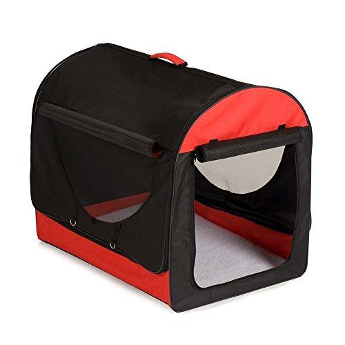 Bunny Business Transporttasche für Hund, aus weichem Stoff mit Kissen aus Polarfleece und Transporttasche, Rot/Schwarz, GrößeS, 46cm