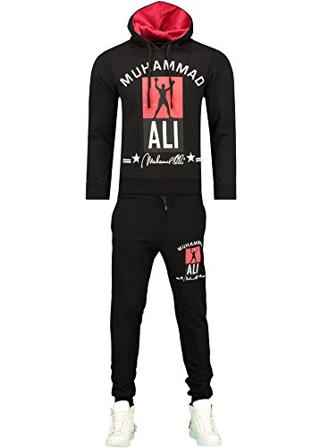 Herren Trainingsanzug / MUHAMMAD ALI Champion / Hose + Hoodie / SLIMFIT / Schwarz Medium