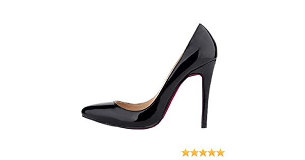 HooH Damen Spitz Zehe Stiletto High Heel Pumps Rote Sohle Schwarz 38 EU