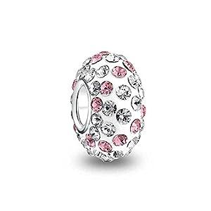 Bling Jewelry 925er Silber Rosa Weiß Swarovski Kristall Bead
