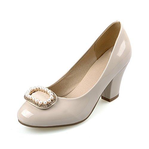 AllhqFashion Damen Ziehen Auf Hoher Absatz Pu Eingelegt Rund Zehe Pumps Schuhe Aprikosen Farbe