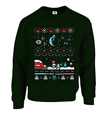 Inspired Galaxy War Spray Christmas Jumper Ugly Sweater Festive Xmas Sweater Top (Small, Bottle Green)