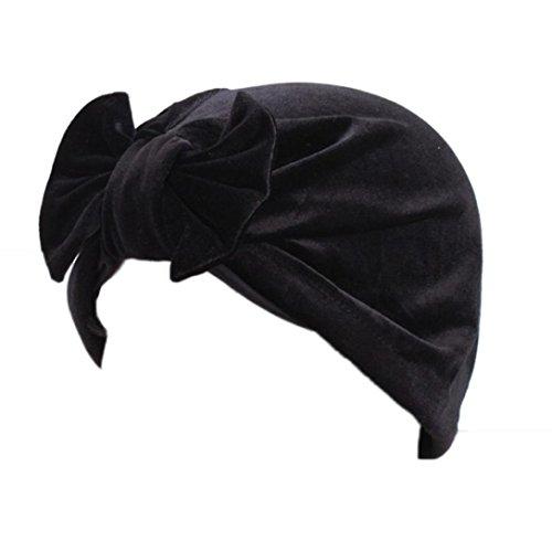 Mode Schwarz Mütze Damen (Cap Transer® Damen Muslim Mode Schön Hüte Make-up Weich Samt Turban Hut Wrap Kaffee Dunkelblau Grün Khaki Lila Rot Hijib Einfarbig Mützen mit Groß Bowknot (Schwarz))