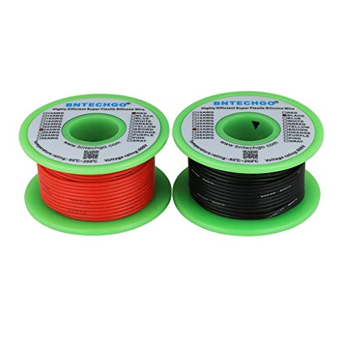 BNTECHGO 24 Gauge Silicone Wire Spool 50 feet Ultra Flexible High Temp 200 deg C 600V 24 AWG Silicone Wire 40 Strands of Tinned Copper Wire 25 ft Black and 25 ft Red Stranded Wire for Model - Wire Gauge
