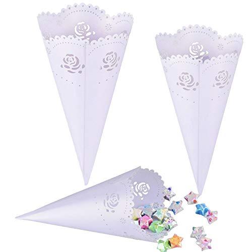 Tomkity 50 pezzi coni portariso bianco portaconfetti scatoline bomboniere matrimonio nozze con autoadesivo