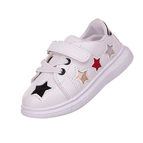 PU Loafers Schuhe Kleinkind Kinder, DoraMe Baby Jungen Mädchen Flachen Sneaker Sport Skate Soft Schuhe Star Anti-rutsch Turnschuhe für 1-6 Jahr (1.5-2 Jahr/Size(CN):22, Schwarz) (Strand-schuhe Mädchen)