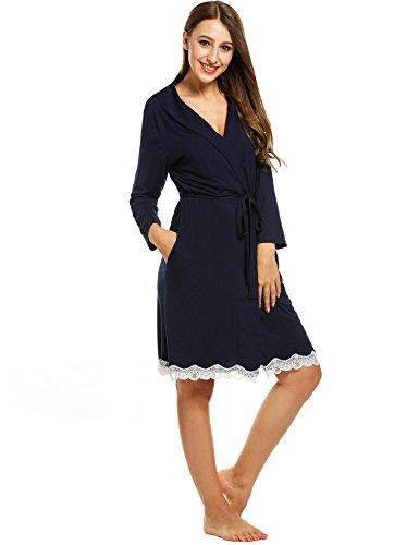 cooshional Donna pigiama vestaglie pizzo con cintura collo con risvolto tunica Blu marino