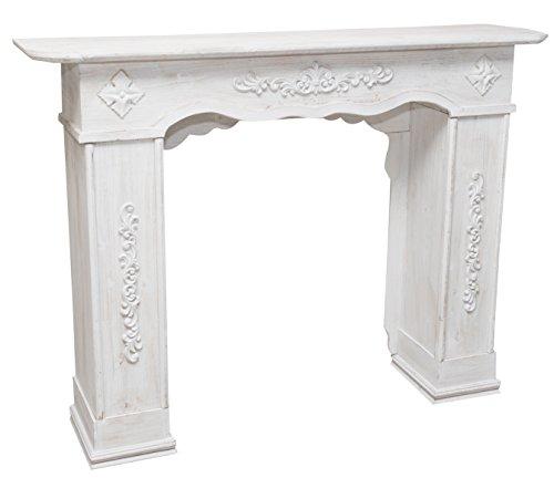 Cornice camino in legno finitura bianca anticata l130xpr29,5xh98 cm