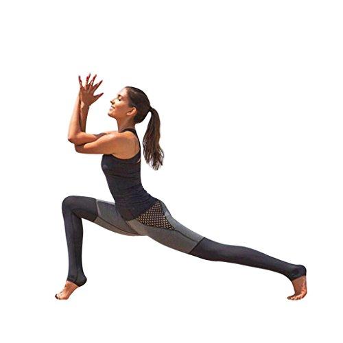 Vovotrade-Femme-Pantalon-de-Yoga-Patchwork-lastique-Noir-et-Gris-Charme-Sport-Fitness-Legging-Sance-dentranement