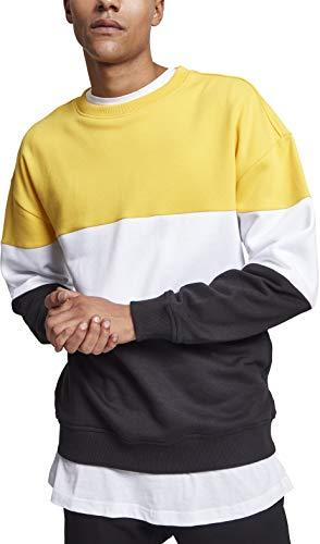 Urban Classics Herren 3-Tone Oversize Crewneck Pullover, Mehrfarbig (Chromeyellow/White/Black 01562), X-Large -