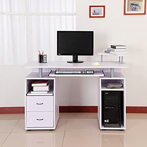 Homcom 920-011WT Computertisch, Holz, modell 4/weiß, 120.0 x 55.0 x 85.0 cm